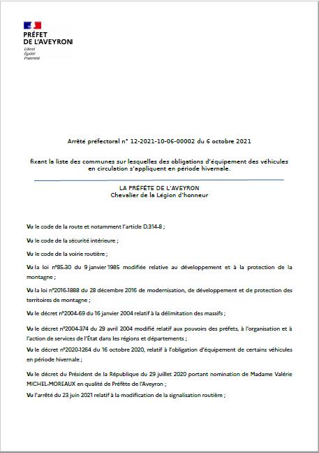 Arrêté préfectoral n° 12-2021-10-06-00002 du 6 octobre 2021